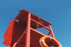red rescue tower with a lifeline aga