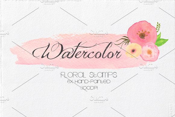Watercolor Floral Stamps