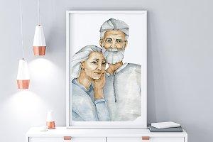 Grandparents Watercolor Print Family