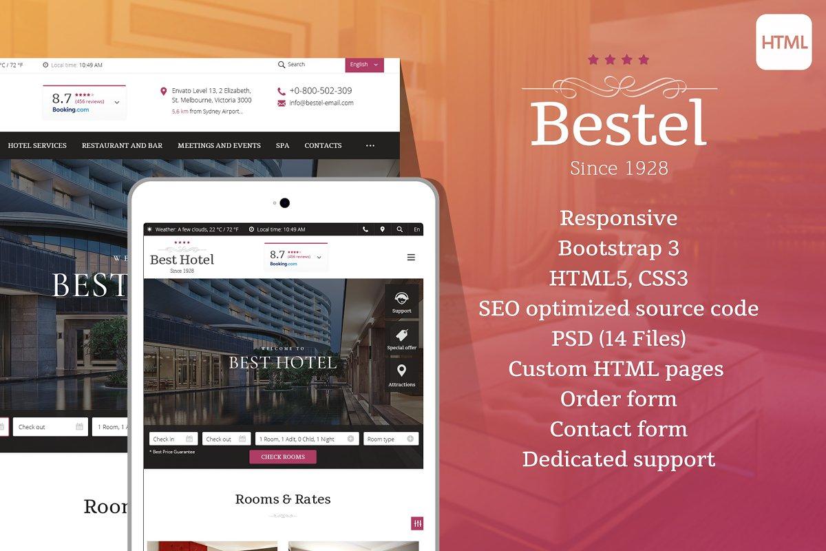 d669e1f873608 Bestel - Hotel HTML Website Template ~ HTML CSS Themes ~ Creative Market