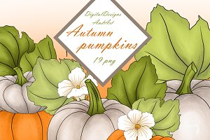 Autumn pumpkins clipart