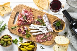 Italian antipasto with salami, jamon