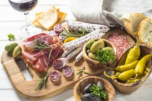 Antipasto - sliced meat, ham, salami