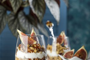 dessert with granola and yogurt