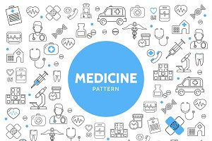 Medicine line icons pattern