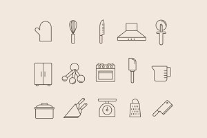 15 Kitchen Utensil Icons