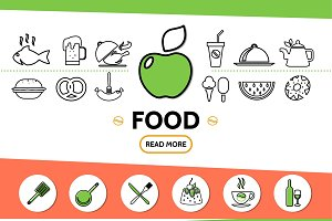 Food line icons template