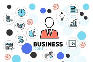Business line icons collection