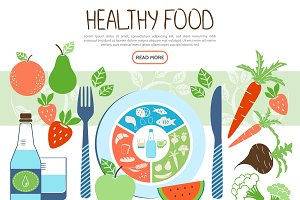 Flat healthy food concept
