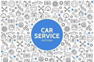 Car service line icons pattern