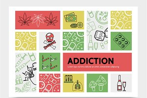 Harmful addictions infographic set