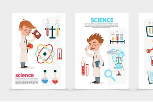 Flat scientific research posters