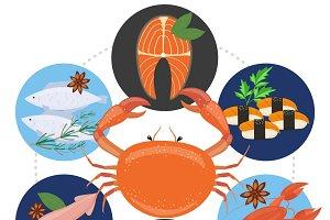 Flat sea food concept