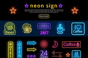 Advertising neon signs set