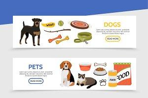 Flat pet shop horizontal banners