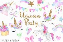 Watercolor Unicorn Party Clipart