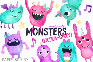 Watercolor Girly Monsters Pack