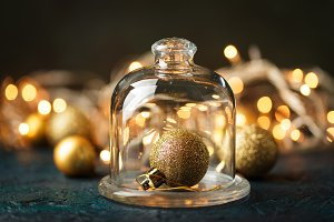 Golden christmas balls on bokeh back