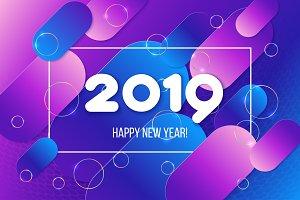 New Year card. Gradient purple