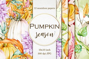 Pumpkin seamless digital papers