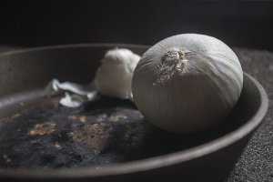 Onion in a Cast Iron Skillet.