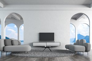 Modern loft living room white