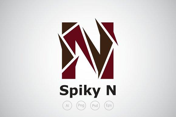 spiky letter n logo template logo templates creative market