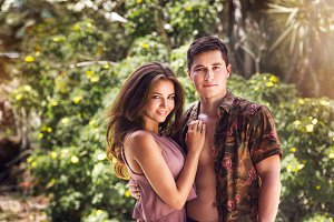 young couple on tropical vacation
