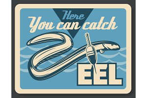 Eel fish fishing vector retro poster