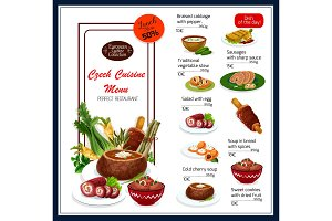 Vector menu for Czech cuisine dishes