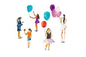 Children girls walking summer