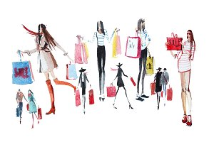 People with shopping bags. Sale