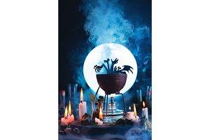 Halloween concept with a cauldron