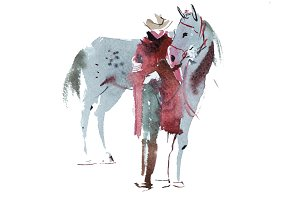 Woman and horse watercolor