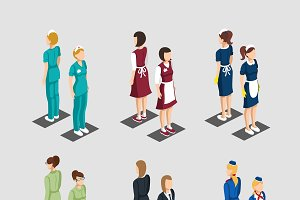 Isometric Female Professions Set