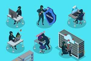 Isometric Hacking Activity Elements