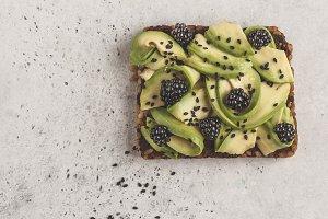 Avocado toast with blackberry