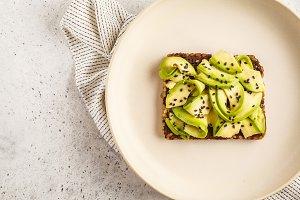 Avocado toast on a healthy sesame