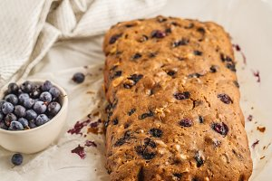 Whole blueberry bread (cake)