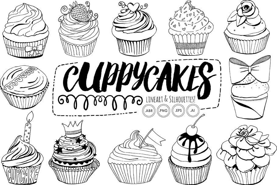 Birthday Cupcake Line Art Silhouette in Illustrations - product preview 1