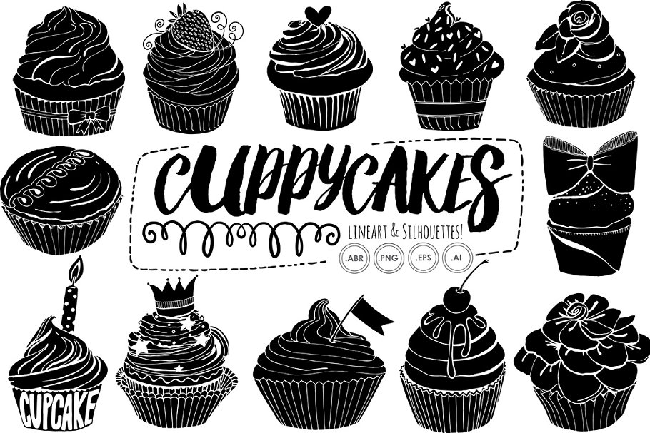 Birthday Cupcake Line Art Silhouette in Illustrations - product preview 2