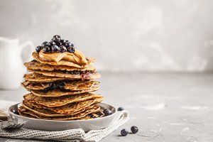 Stack vegan blueberry pancakes