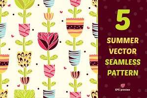 Сute summer seamless pattern.