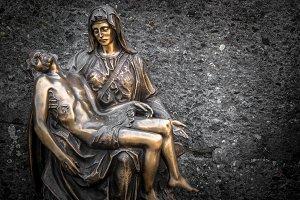 Religious bronze statue representing