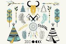 Tribal clip art, skull, feathers