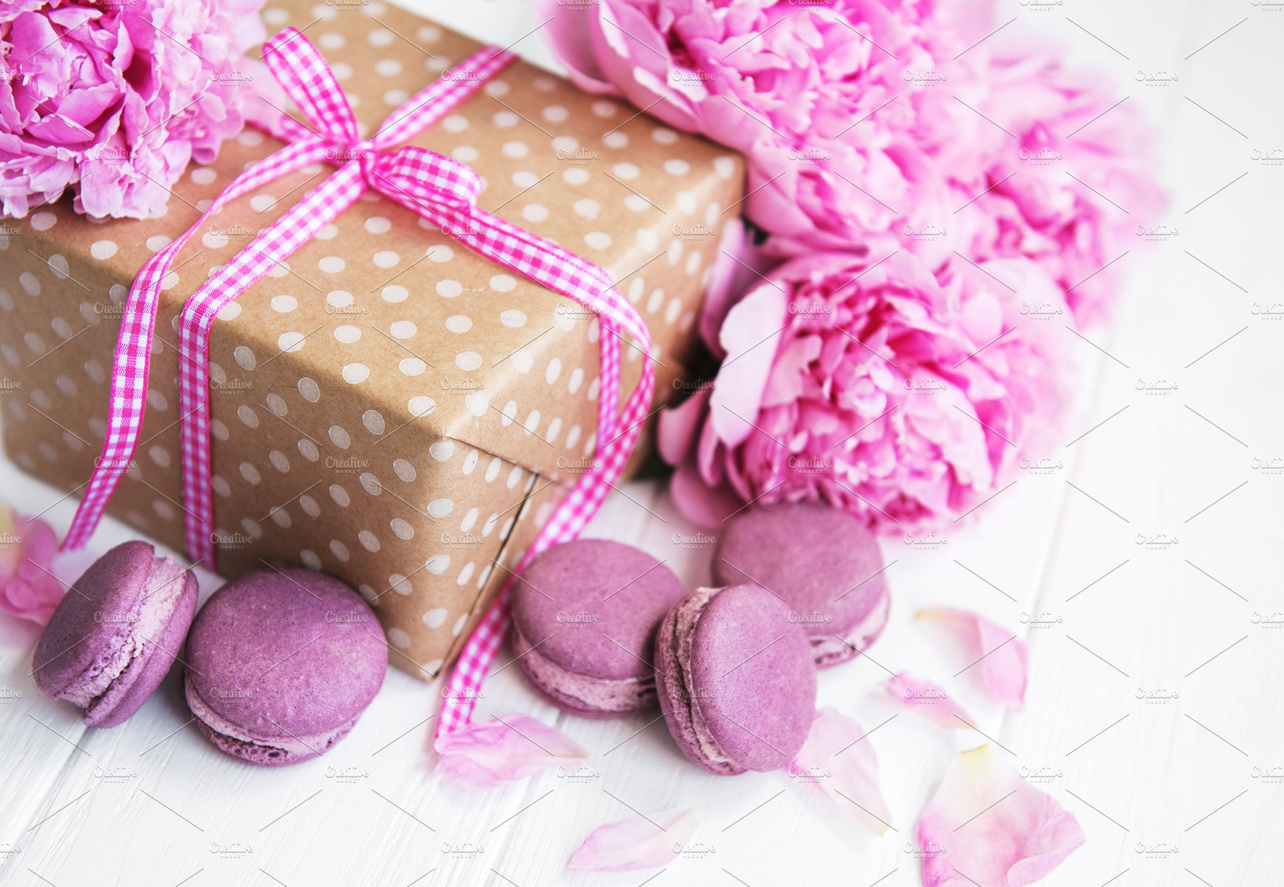 pink macaroons with peonies and gift ~ Food Images ~ Creative Market