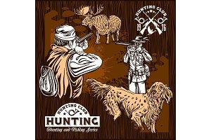 Elk hunting and hunting dog