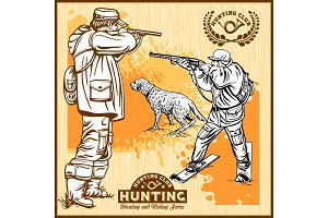 Hunters With Dogs - Retro Clipart