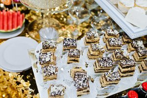 Different swets and cakes at wedding