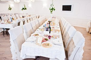 Wedding table of guests on great lig